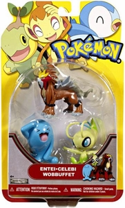 Pokemon Series 19 Basic Figure 3-Pack Entei, Celebi & Wobbuffet