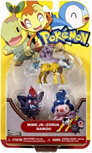 Pokemon Series 19 Basic Figure 3-Pack Mime Jr., Zorua & Raikou