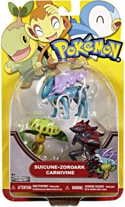 Pokemon Series 19 Basic Figure 3-Pack Suicune, Zoroark & Carnivine