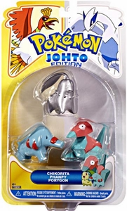 Pokemon Johto Edition Series 17 Basic Figure 3-Pack Silver Chikorita, Phanpy & Porygon