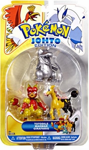 Pokemon Johto Edition Series 17 Basic Figure 3-Pack Silver Totodile, Magmar & Girafarig