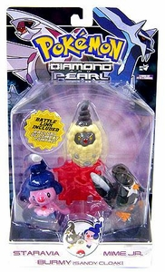 Pokemon Diamond & Pearl Series 7 Basic Figure 3-Pack Staravia, Mime Jr. & Burmy [Sandy Cloak]