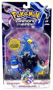 Pokemon Diamond & Pearl Series 6 Basic Figure 3-Pack Chatot, Golduck & Croagunk