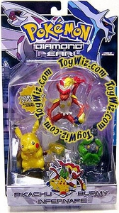 Pokemon Diamond & Pearl Series 4 Basic Figure 3-Pack Pikachu, Burmy [Green, Plant Cloak] & Infernape