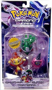 Pokemon Diamond & Pearl Series 4 Basic Figure 3-Pack Chimchar, Burmy [Pink, Trash Cloak] & Torterra