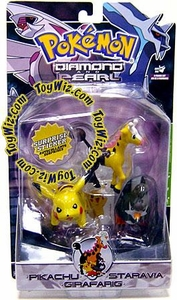 Pokemon Diamond & Pearl Series 3 Basic Figure 3-Pack Pikachu, Staravia & Girafarig