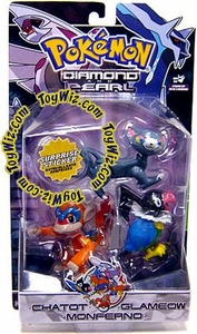 Pokemon Diamond & Pearl Series 3 Basic Figure 3-Pack Chatot, Glameow & Monferno