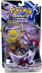 Pokemon Diamond & Pearl Series 2 Basic Figure 3-Pack Palkia, Weavile & Golem