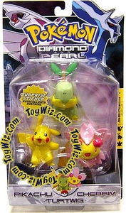 Pokemon Diamond & Pearl Series 1 Basic Figure 3-Pack Pikachu, Cherim & Turtwig