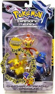 Pokemon Diamond & Pearl Series 1 Basic Figure 3-Pack Chimchar, Pikachu & Croagunk