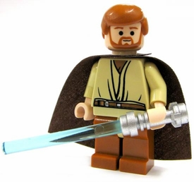 LEGO Star Wars LOOSE Mini Figure Obi-Wan Kenobi with Silver Lightsaber & Cape [Brown Pants]
