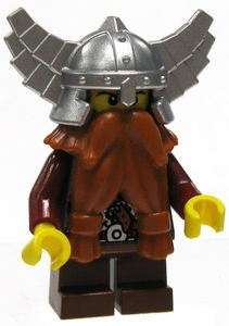 LEGO Castle LOOSE Mini Figure Dwarf in Red Tunic & Silver Winged Helm with Orange Twin Tied Beard [Army Builder]