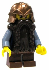 LEGO Castle LOOSE Mini Figure Dwarf in Blue/Gray Tunic & Copper Helm with Brown Braided Beard [Army Builder]