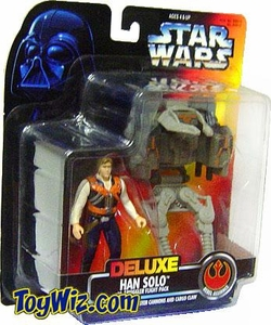 Star Wars POTF2 Power of the Force Deluxe Han Solo w/ Smuggler Flight Pack