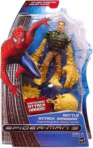Spider-Man 3 Hasbro Movie Action Figure Battle Attack Sandman [Interchangable Hands]