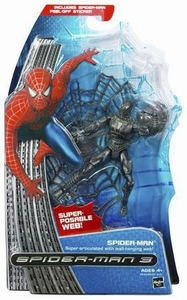 Spider-Man 3 Hasbro Movie Action Figure Super Poseable Black Costume Spider-Man [Super-Articulated with Hanging Web]