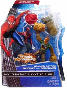 Spider-Man 3 Hasbro Movie Ooze Attack Action Figure Sandman Vs Spider-Man with Sand Compound