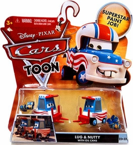 Disney / Pixar CARS TOON 1:55 Die Cast Car Lug & Nutty with Oil Cans