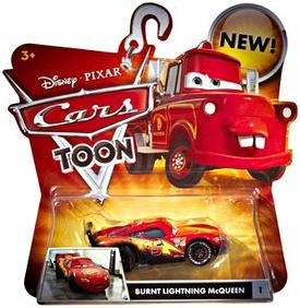 Disney / Pixar CARS TOON 1:55 Die Cast Car Burnt Lightning McQueen