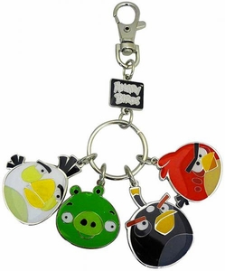 Angry Birds Metal Keychain Style 2 [White Bird, Pig, Black Bird & Red Bird]