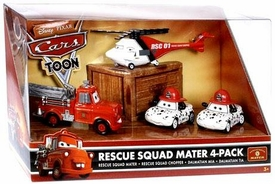 Disney / Pixar CARS TOON 1:55 Die Cast Car Fire Rescue Squad 4-Pack #2 Firetruck Mater, Rescue Chopper, Dalmations Mia & Tia