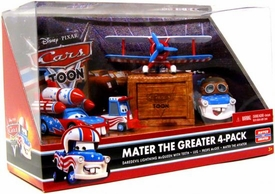 Disney / Pixar CARS TOON 1:55 Die Cast Car Mater The Greater 4-Pack Daredevil Lightning McQueen, Lug, Props McGee & Mater the Aviator