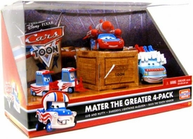 Disney / Pixar CARS TOON 1:55 Die Cast Car Mater The Greater 4-Pack Lug & Nutty, Daredevil Lightning McQueen & Buck the Tooth Vendor