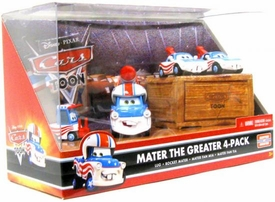 Disney / Pixar CARS TOON 1:55 Die Cast Car Mater The Greater 4-Pack Lug, Rocket Mater, Mater Fan Mia & Mater Fan Tia
