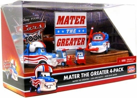 Disney / Pixar CARS TOON 1:55 Die Cast Car Mater The Greater 4-Pack Mater the Greater, Lug, Nutty & High Dive Mater