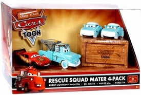 Disney / Pixar CARS TOON 1:55 Die Cast Car Medical Rescue Squad 4-Pack #1 Dr. Mater, Burnt McQueen, Nurses Mia & Tia