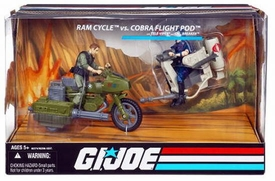 GI Joe 25th Anniversary Vehicle Ram Cycle vs Cobra Flight Pod [Trouble Bubble] with Tele-Viper & Breaker Action Figures