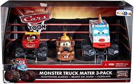 Disney / Pixar CARS TOON Exclusive Oversized Die Cast Car 3-Pack Frightening McMean, Beanie Hat Mater & I-Screamer