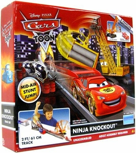 Disney / Pixar CARS TOON Playset Ninja Knockout Track Set [Includes City-San Crane & Dragon McQueen Plastic Vehicles]