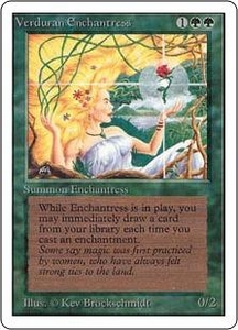 Magic the Gathering Revised Edition Single Card Rare Verduran Enchantress Slightly Played Condition