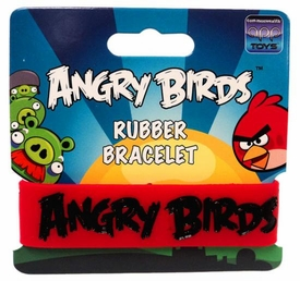 Angry Birds Rubber Bracelet Black on Red