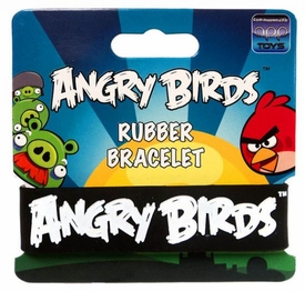 Angry Birds Rubber Bracelet White on Black
