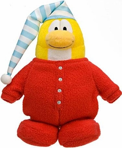Disney Club Penguin 6.5 Inch Series 10 Plush Figure Red Pajama {Version 3} [Includes Coin with Code!]