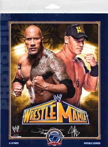 WWE Wrestling Photo File 8x10 Color Matted Photo Wrestle Mania The Rock & John Cena