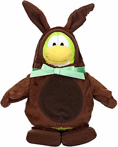 Disney Club Penguin 6.5 Inch Series 7 Plush Figure BROWN Chocolate Easter Bunny [Includes Coin with Code!]