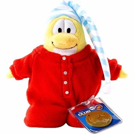 Disney Club Penguin 6.5 Inch Series 2 Plush Figure Red Pajamas {Version 1} [Includes Coin with Code!]