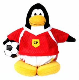 Disney Club Penguin 6.5 Inch Series 1 Plush Figure Boy Soccer Player {Red Jersey} [Includes Coin with Code!]