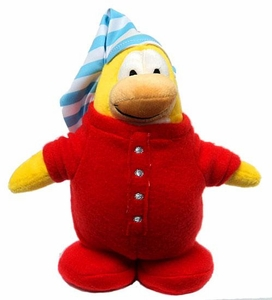 Disney Club Penguin Exclusive 9 Inch DELUXE Plush Figure Red Pajama [Includes Coin with Code!]