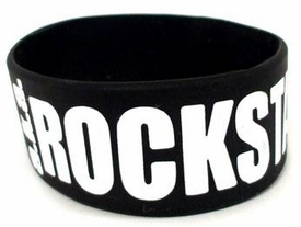BAND2gether Bands Rubber Wristband Bracelet A.K.A Rockstar [White Text]