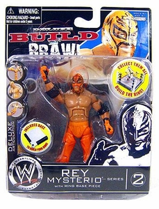 WWE Wrestling Build N' Brawl Series 2 Mini 4 Inch Action Figure Rey Mysterio [Ring Base Piece]