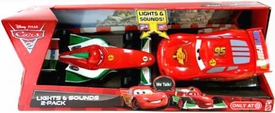 Disney / Pixar CARS 2 Movie Exclusive Lights & Sounds 1:24 Scale Vehicle 2-Pack Francesco Bernoulli & Lightning McQueen