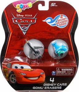 Disney / Pixar CARS 2 Movie Gomu Eraser 4-Pack Siddeley & Guido [2 Secret Erasers]