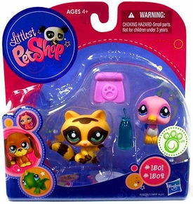 Littlest Pet Shop 2010 Exclusive Figures Raccoon & Bird