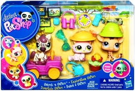 Littlest Pet Shop Figures Playset Search N' Safari [Zebra, Pink Cat & Giraffe]