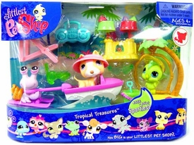 Littlest Pet Shop Figures Playset Tropical Treasures [Hermit Crab, Dog & Parakeet]