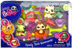 Littlest Pet Shop Figures Playset Speedy Tails Racecourse [Turtle, Bunny & White Dog]